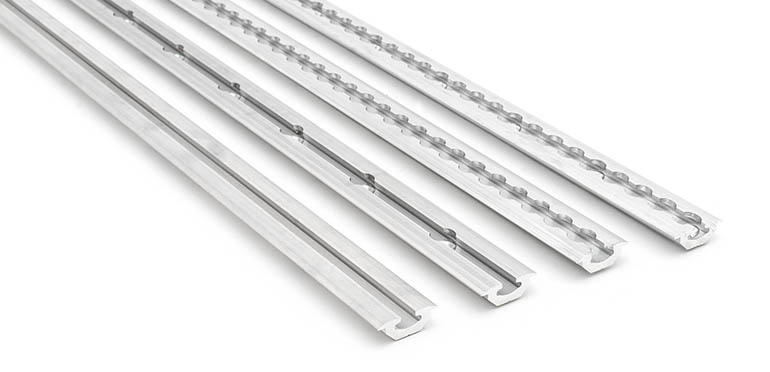 Low profile aluminium rails with different machining