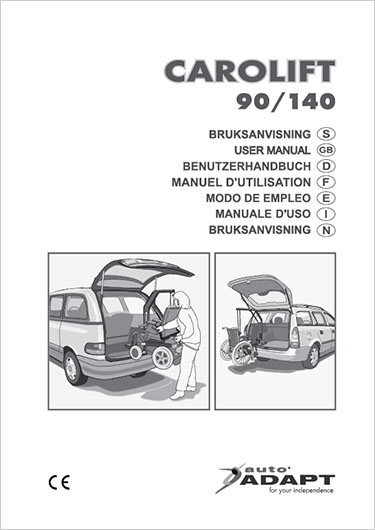 Image of the Carolift 90/140 wheelchair hoist user manual