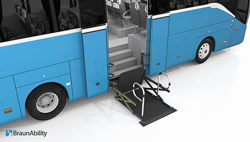 Animation of a lift installed on a bus