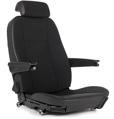 Full view of a car seat with armrests.