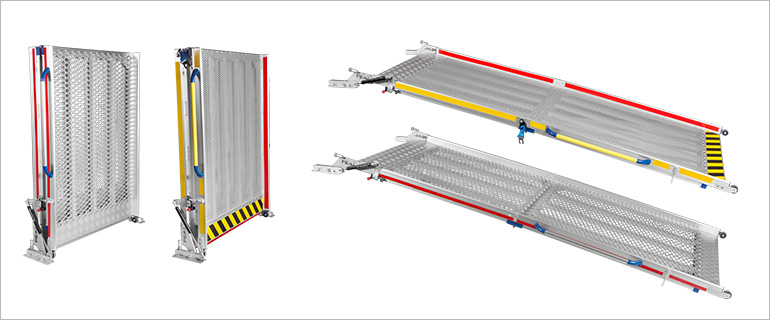 Two folded heavy-duty ramps in standing position and two open heavy-duty ramps