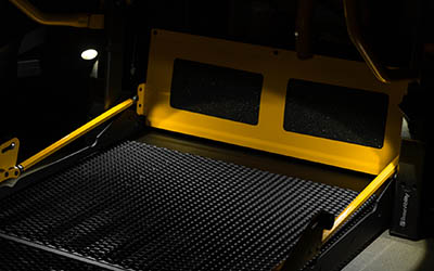 Illuminated wheelchair lift platform