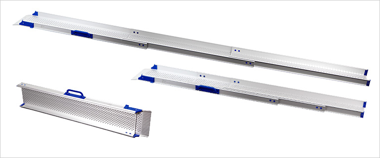 Three telescopic ramps in different sizes