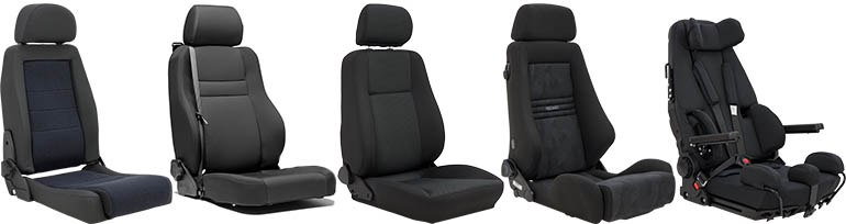 A series of aftermarket car seats
