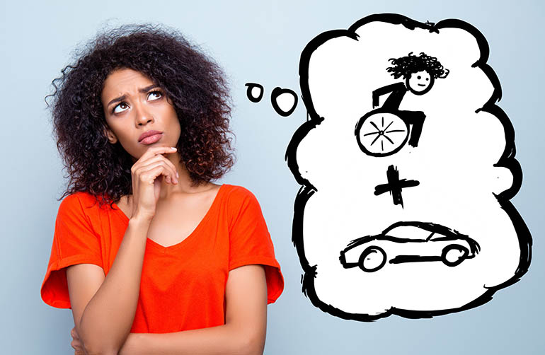 Woman thinking about vehicle adaptation