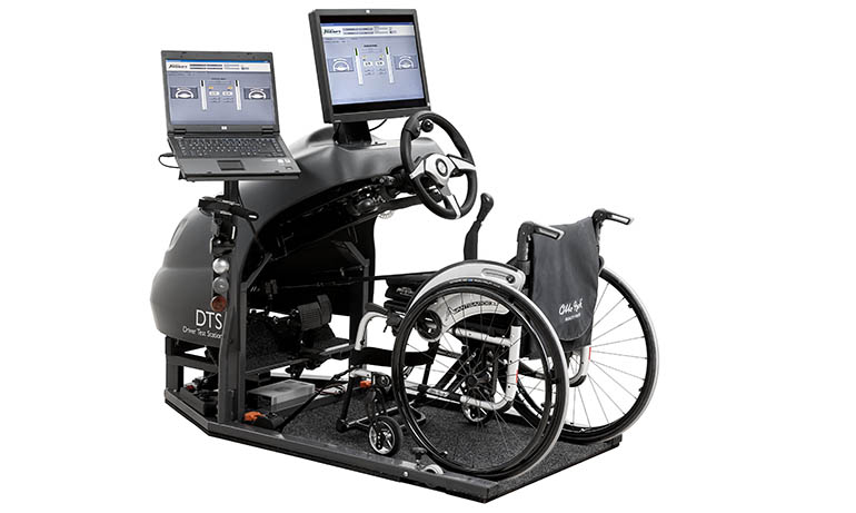 Wheelchair on a driver test station