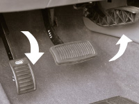 Close up of gas and brake pedal