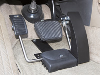 Close up of adapted car pedals