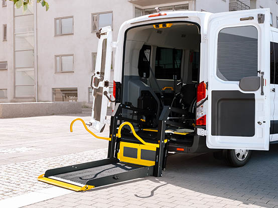 Wheelchair lift in a transport vehicle