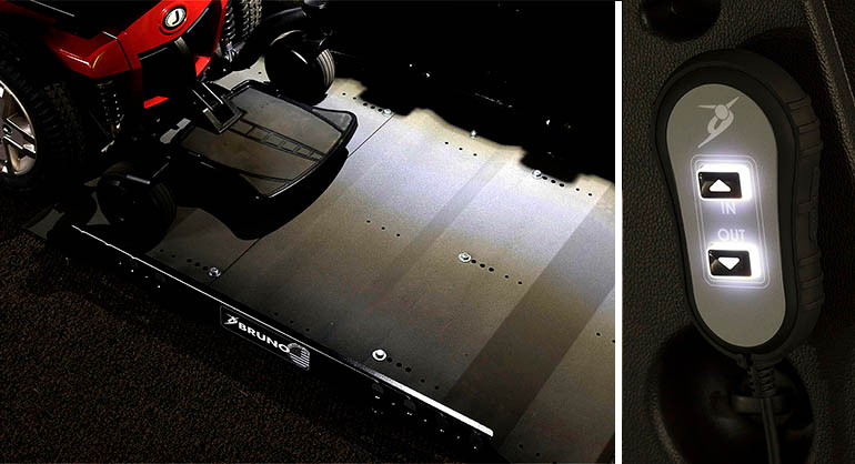 Picture 1: Joey Lift platform with lights on Picture 2: Joey Lift illuminated hand control