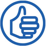 A thumbs-up symbol.