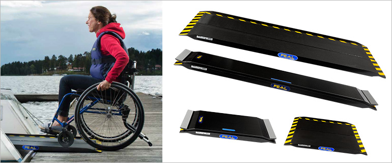 Picture 1: woman on a wheelchari rolling into a boat using a ramp Picture 2: four different types of ramps