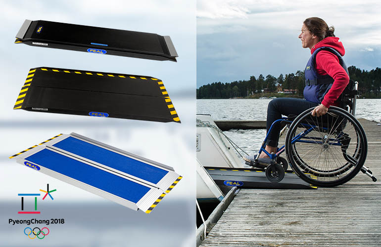 Picture 1: different types of portable ramps Picture 2: woman rolling into a boat using a ramp