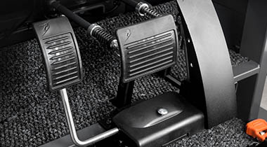 Pedals installed in a car