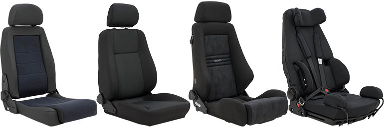 Four black aftermarket car seats beside each other