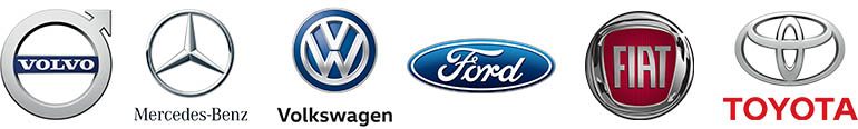 Logos of: Volvo, Mercedes-Benz, Volkswagen, Ford, FIAT and Toyota