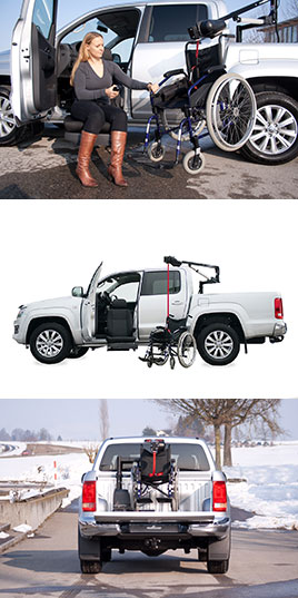 VW Amarok with Turny Evo driver's side adaptation and a wheelchair hoist.