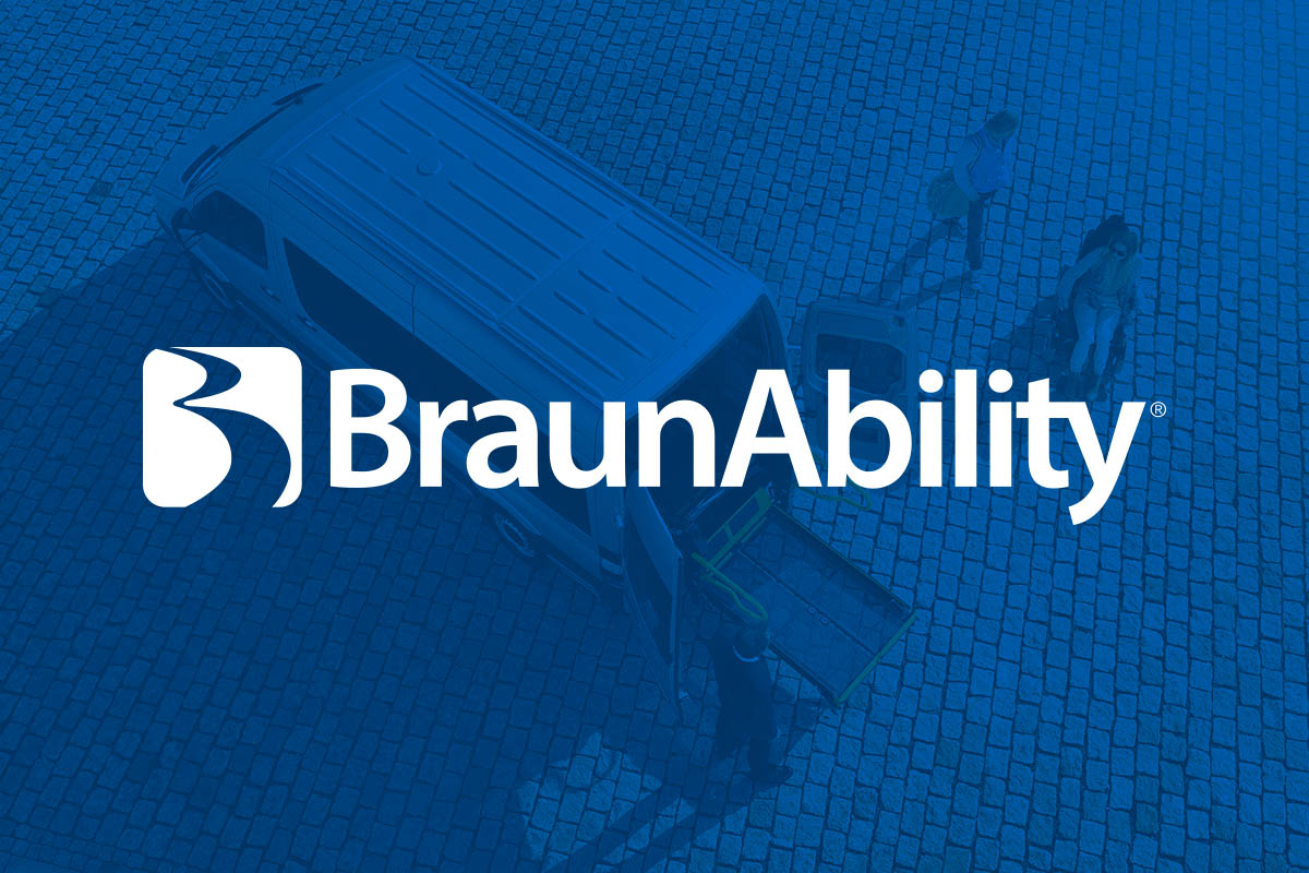 BraunAbility logo with a van in the background