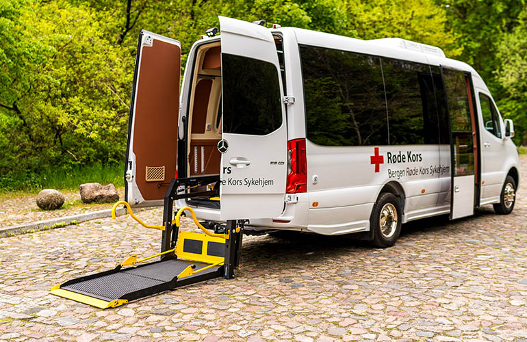 E-Series folding platform wheelchair lift in a Mercedes-Benz Sprinter.