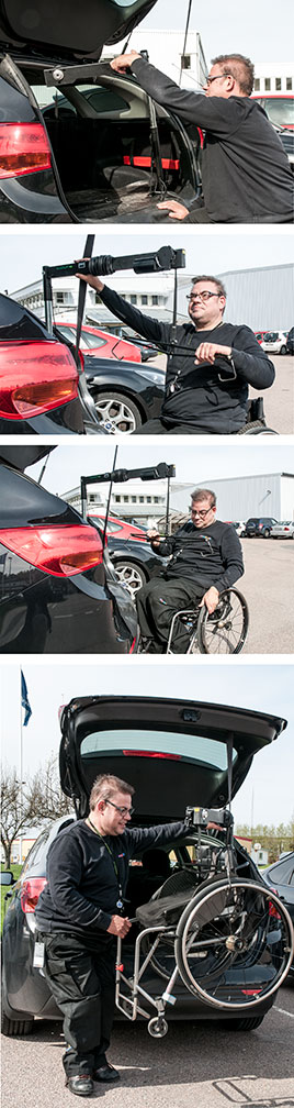 Independent driver Mikael Lundstedt showing his Carolift wheelchair hoist.