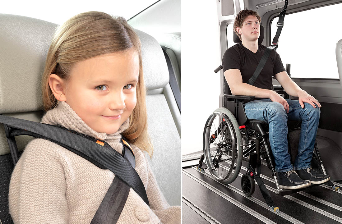 Girl and boy inside vehicles with different seat belt solutions